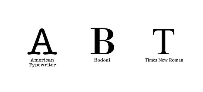 新たに3モデルが登場。American Typewriter / Bodoni / Times New Roman