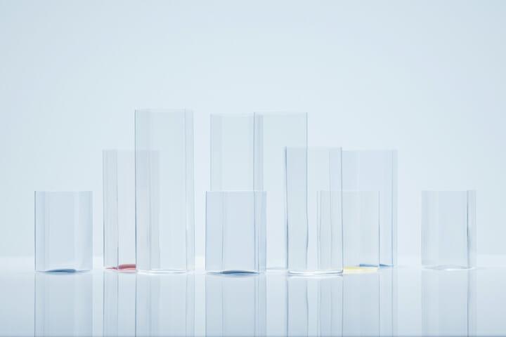 変形多角形による角柱グラス (5)