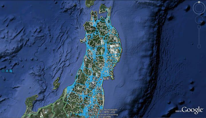 2011年度グッドデザイン大賞の本田技研工業株式会社、カーナビゲーションシステムによる情報提供サービス 東日本大震災でのインターナビによる取り組み「通行実績情報マップ」、(C)JDP GOOD DESIGN AWARD http://www.g-mark.org