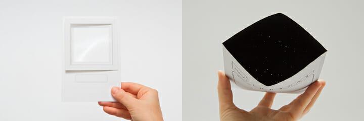 優秀賞「旅の標本カード」(左)、優秀賞「星空の封筒」(右)