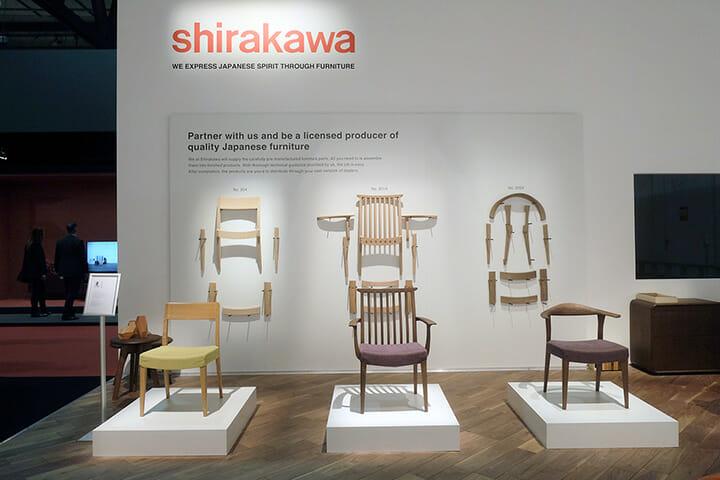 シラカワ、自社製品のプレゼンテーションだけでなく、高品位な椅子のパーツ一式を提供するビジネスも提案していた。