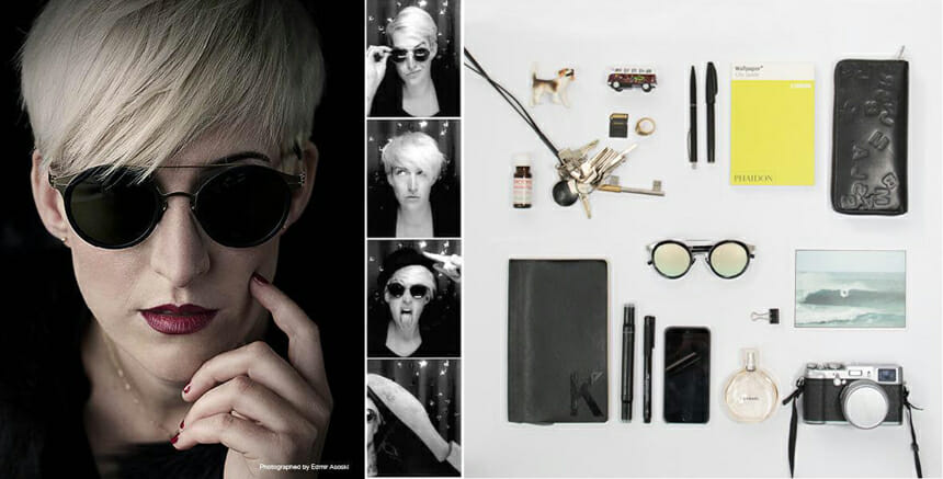 ドイツ本社でグラフィックデザインを統括するカタリーナと、彼女をモデルにした眼鏡。カタリーナの私物はどれもセンスに溢れる物ばかり