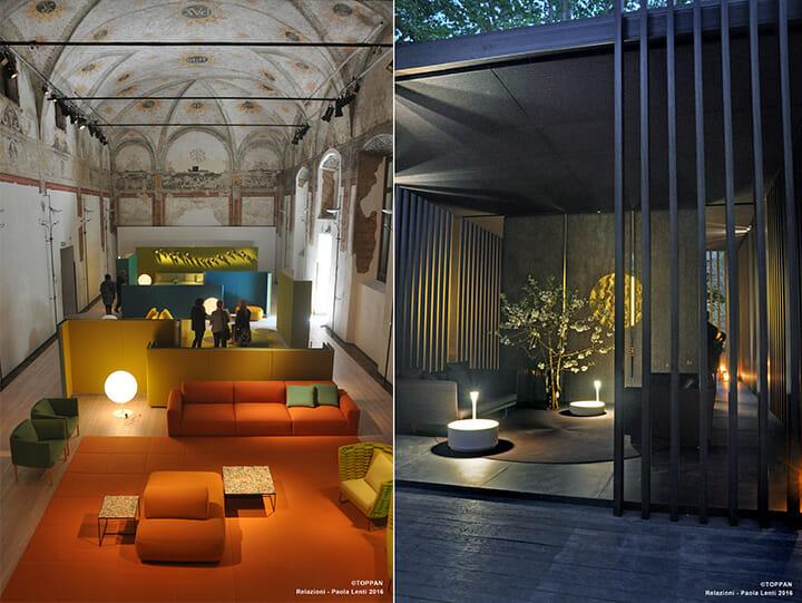 パオラ・レンティ + 凸版印刷、屋外と屋内の大規模空間で凸版印刷の建材のプレゼンテーション