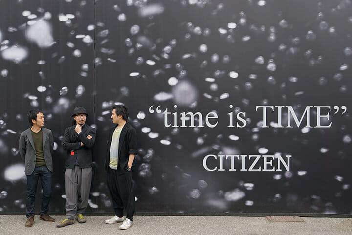 """CITIZEN """"time is TIME""""のクリエイティブを手がけたシチズン時計の岡村直明氏(左)、遠藤豊氏(中)、田根剛氏(右)"""