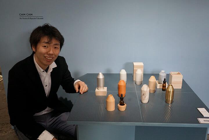 タイのタイル・水回り用品メーカーCOTTOのミラノ4回目の展示、福定良佑氏はルイ・ペレイラ氏と共に毎回、様々な提案を行っている