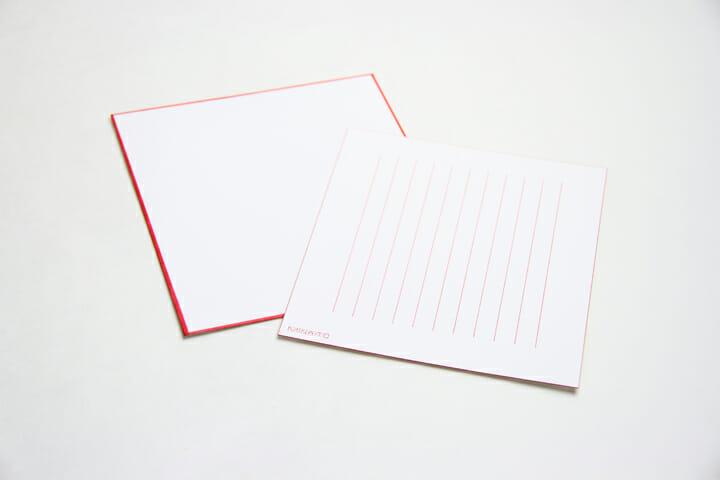 Letter Set/紙質は和紙のような上質なものを使用。封筒と便箋の淵にも赤いラインが施されています