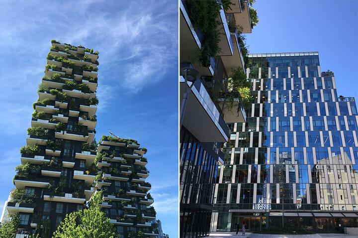 イゾラ地区のランドマークは2014年に竣工した高層レジデンス「ボスコ・ヴェルティカーレ(垂直の森)」。ボエリスタジオが設計した高さ110メートルと70メートルの高層ツインタワーは、ビル全体が見事な植栽で覆われている。そのすぐ隣にはグーグル ミラノが新オフィスを開業。ヘルシー志向のバールやカフェも次々と集まりつつある