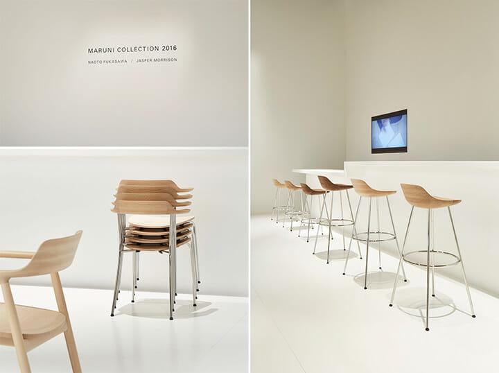 マルニ木工、深澤直人氏デザインの「HIROSHIMA」シリーズのスタッキングチェア(左)とスツール(右)Photography: Nacása & Partners Inc.