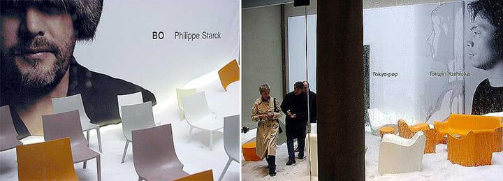 2002年のdriadeの展示、左がフィリップ・スタルク氏、右が吉岡徳仁氏。日本人が目玉デザイナーとして取り上げられた初期の代表的事例