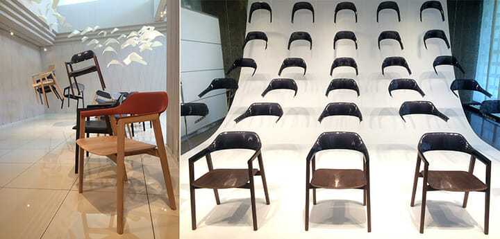 カンディハウスのショールームでは1月のケルンで発表された椅子「TEN」のインスタレーション。「TEN」のデザインはミヒャエル・シュナイダーさん。インスタレーションは松村和典さんが手がけました、松村さんは北海道札幌生まれ