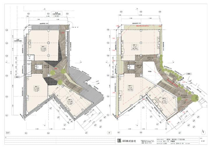 地下と1階平面図