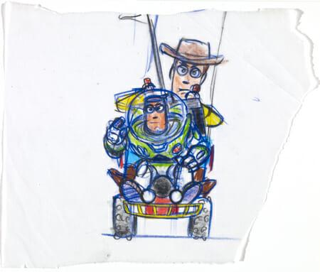 ボブ・ポーリー|≪ウッディとバズ≫|『トイ・ストーリー』(1995年) <br />複製(マーカー、鉛筆/紙)|©Disney/Pixar