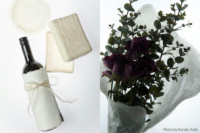 ワインや花を包むのに使えるような紙状だったり、何かを入れておく容器の状態のものもある