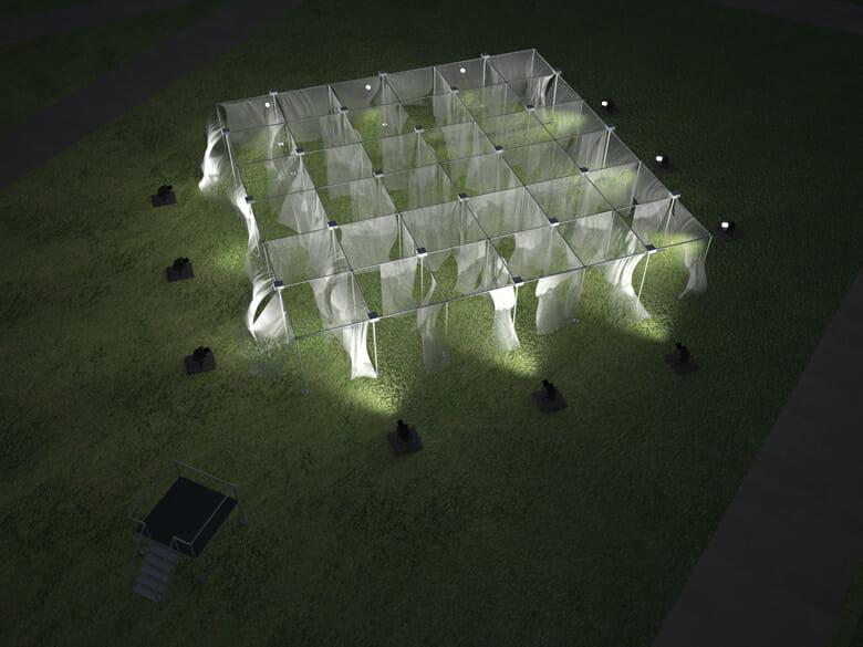 18時~21時までの時間帯は、「CURTAIN WALL THEATRE」はライトアップされて幻想的な表情に変わる