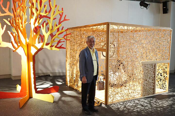 内田繁 デザイン展2015「茶の湯の風景」にて、内田繁さん