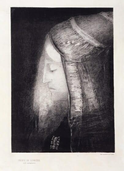 オディロン・ルドン 《光の横顔》 1886年 紙・リトグラフ