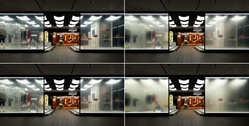1階プロモーションスペースを囲うガラスの壁。オンオフで印象がガラリと変わる