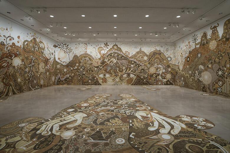 淺井裕介 yamatane(2014) Installation view at Rice gallery, Houston, Texas, USA ©Yusuke Asai, Courtesy of URANO Photo by Nash Baker