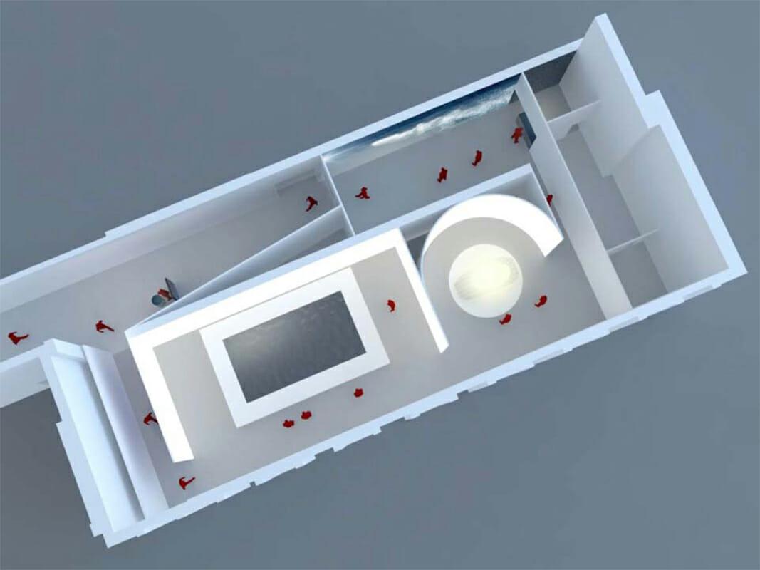 トリエンナーレ美術館2階「CUBO B」の平面図