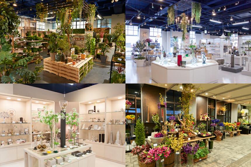 「横浜ディスプレイミュージアム 横浜本店」は、自社開発のオリジナル商品が一堂に会するショップ&ショールーム。現実の店舗を想定した活用例やコーディネーションのヒントを提示・販売している。1階には、空間演出のシーンづくりに欠かせない、大小さまざまなディスプレイマテリアルがそろい、グリーンコーナーでは、アーティフィシャルグリーンを中心としたグリーンディスプレイ専門のアイテムを中心に展開