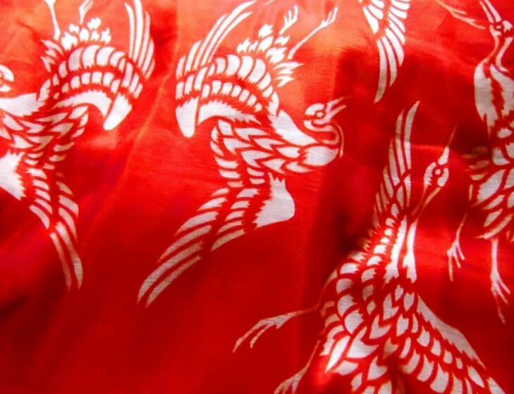 紅板染の絹布