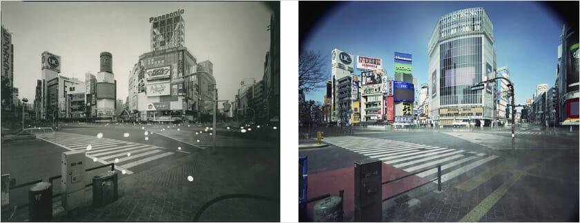 佐藤時啓「An hour exposure 1990/2017 Tokyo - Shibuya」2017 年 写真/2 点組