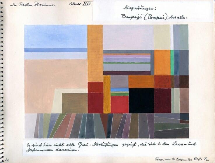 オットー・ネーベル 《ポンペイ》『イタリアのカラー・アトラス(色彩地図帳)』より、1931年、水彩・紙オットー・ネーベル財団