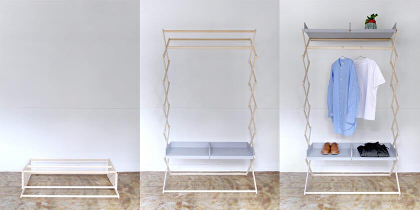 Accordion Rack /Shelf:ただの木の枠組みのようだが、引き出しを置くことで使い方をアレンジできる棚になる