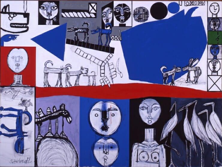 ≪顔、犬、鳥、≫1991年©公益財団法人ミモカ美術振興財団、丸亀市猪熊弦一郎現代美術館所蔵