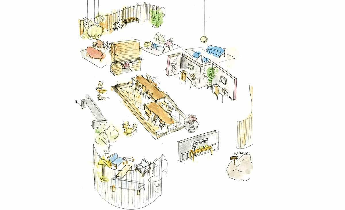 インテリアスタイリスト黒田美津子氏による「飛騨の家具®︎ホテル」イメージスケッチ