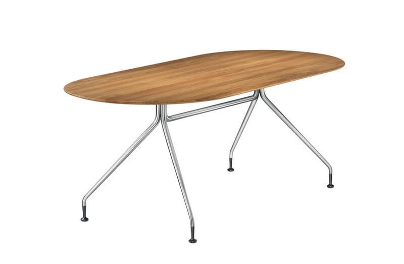 Occoテーブルは、正方形、円形、長方形(3サイズ)、楕円形(2サイズ)の全7サイズ。メラミン(ホワイト/ ブラック)、突板(6種)の天板。レッグはスチール塗装2色(マットホワイト/ マットブラック)またはクロームメッキから選択可能