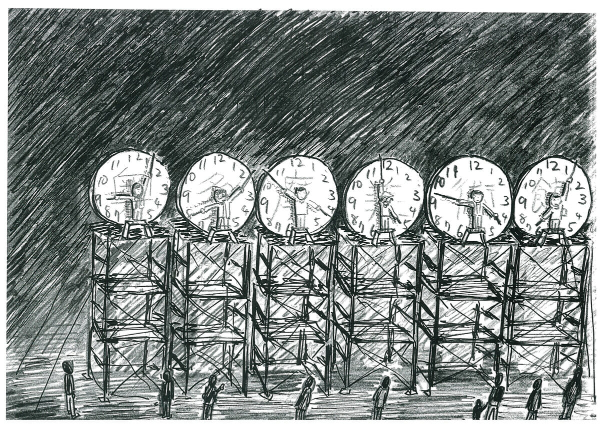 国立奥多摩美術館《24時間人間時計のためのドローイング》 《Drawing for 24h Human Clock》<br />2012年に東京都青梅市に発足したアーティスト・コレクティブ「国立奥多摩美術館」。メンバーの多くは、東南アジアで作品発表の経験がある。今回はアジアをテーマに、人が時計の針となる「24時間人間時計」に挑戦