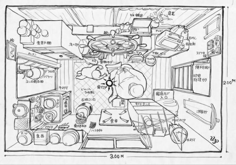 「舟ずまい」 甲板に設けられた船室の様子。 図版提供:NPO法人 西山夘三記念すまい・まちづくり文庫