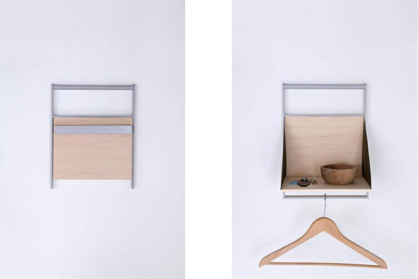 今回インテリアライフスタイルで発表した「Wal」。開くと用途が生まれ、鏡のバージョンのものもある