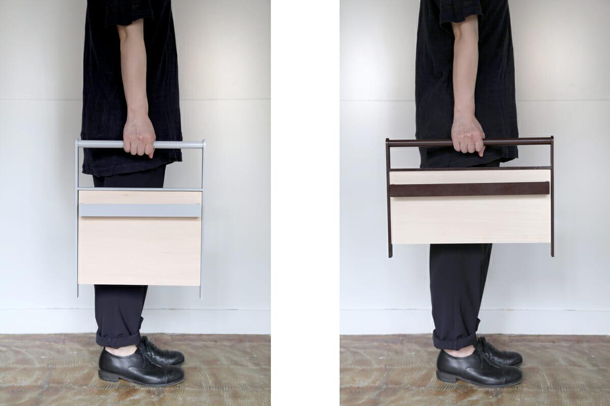 壁に掛けても使えるし、持ち運びも可能。一見では何かわからない、ユニークなデザイン