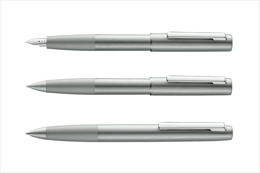 LAMY aion olivesilver(上から)万年筆、ローラーボール、ボールペン