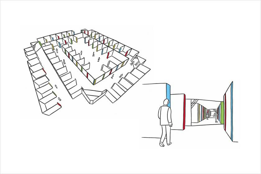 会場イメージ。突きあたりに鏡を設けることで、奥行き感のある、先へ誘う空間構成となっている