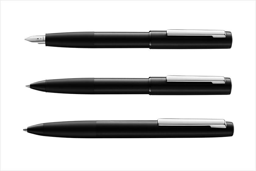LAMY aion black(上から)万年筆、ローラーボール、ボールペン