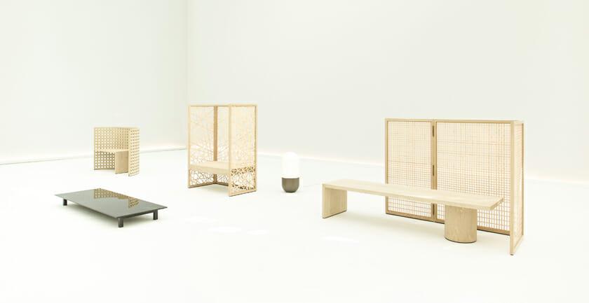 Khora-Collection。髙平さんがデザインに携わった、「Wander from Within」での家具。茶室をイメージしたという家具からは、日本の間合いや礼節といった空気感が伝わってくるよう。