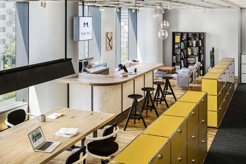 小川さんがデザインした「M.STAGE TOKYO」。医療関係の会社のリフレッシュスペース。コミュニケーションの活性化を考えデザインされた。
