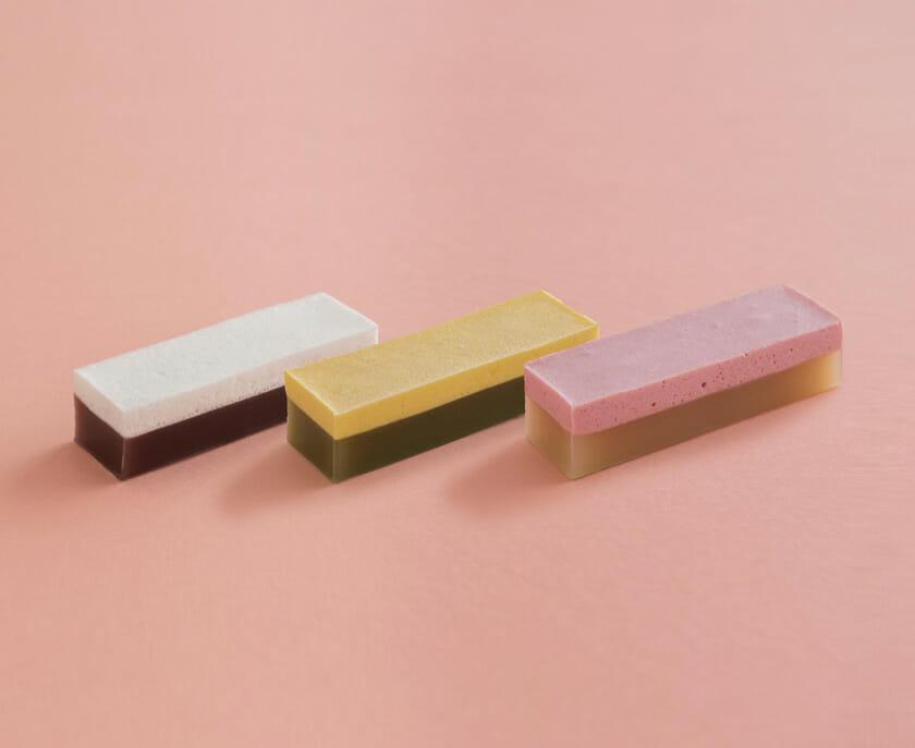 (左から)マシュマロ×ようかん、南瓜マシュマロ×抹茶ようかん、木苺マシュマロ×白ようかん