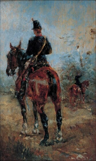 アンリ・ド・トゥールーズ=ロートレック《馬上の二人の兵士》1881年