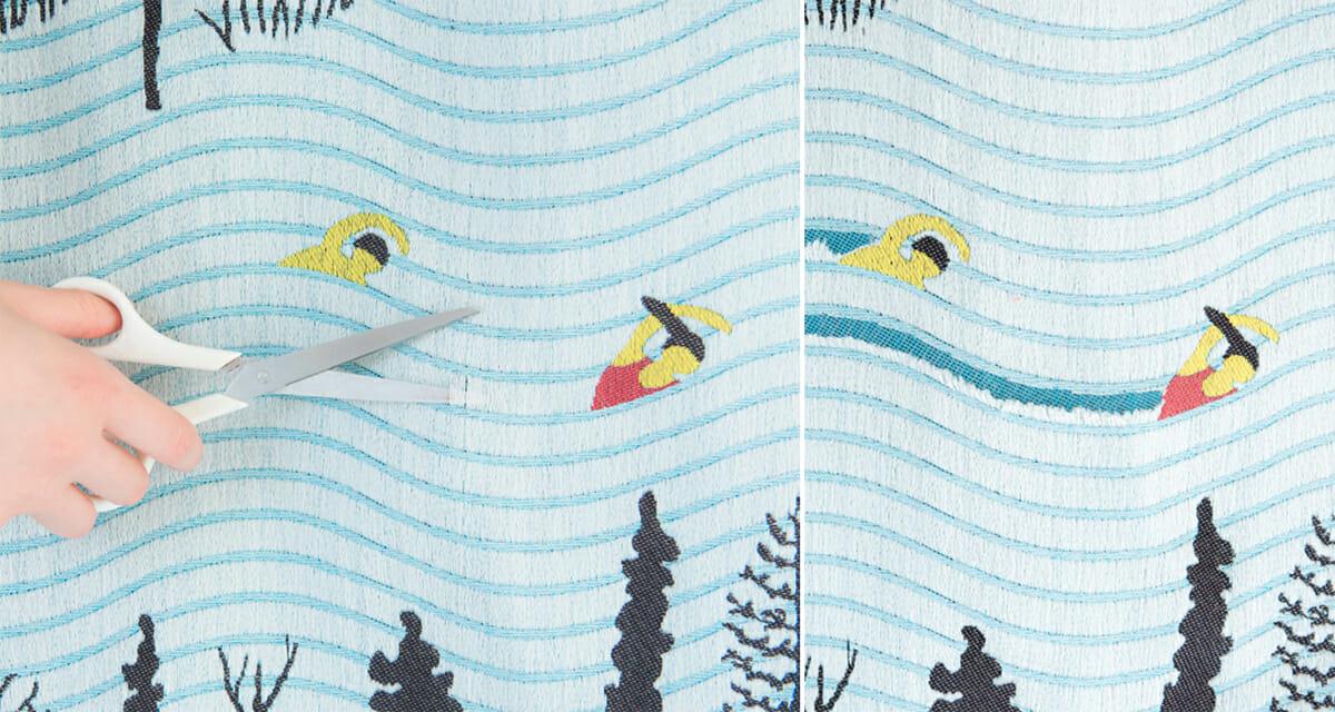 snip snap series LAPLAND/ジャガード織りという模様を織れる技術を活用してつくった、ユーザーがハサミを入れることで変化していくテキスタイル。(左)ハサミを入れる前(右)入れた後