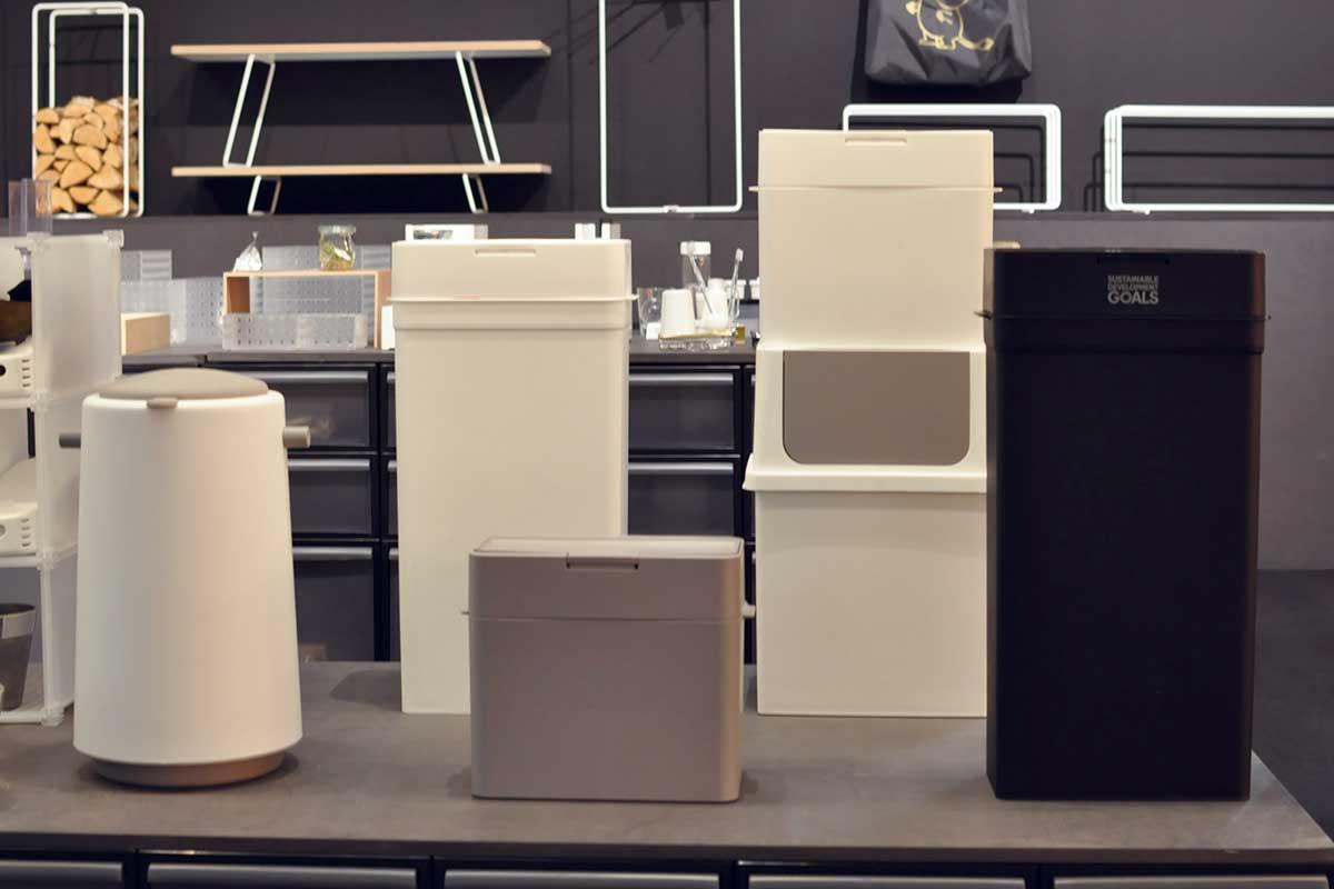 新製品のゴミ箱「シールズ」、この高さと抜き勾配の浅さから製造の難易度がわかる、素材にはセルロースナノファイバー複合材が使われている