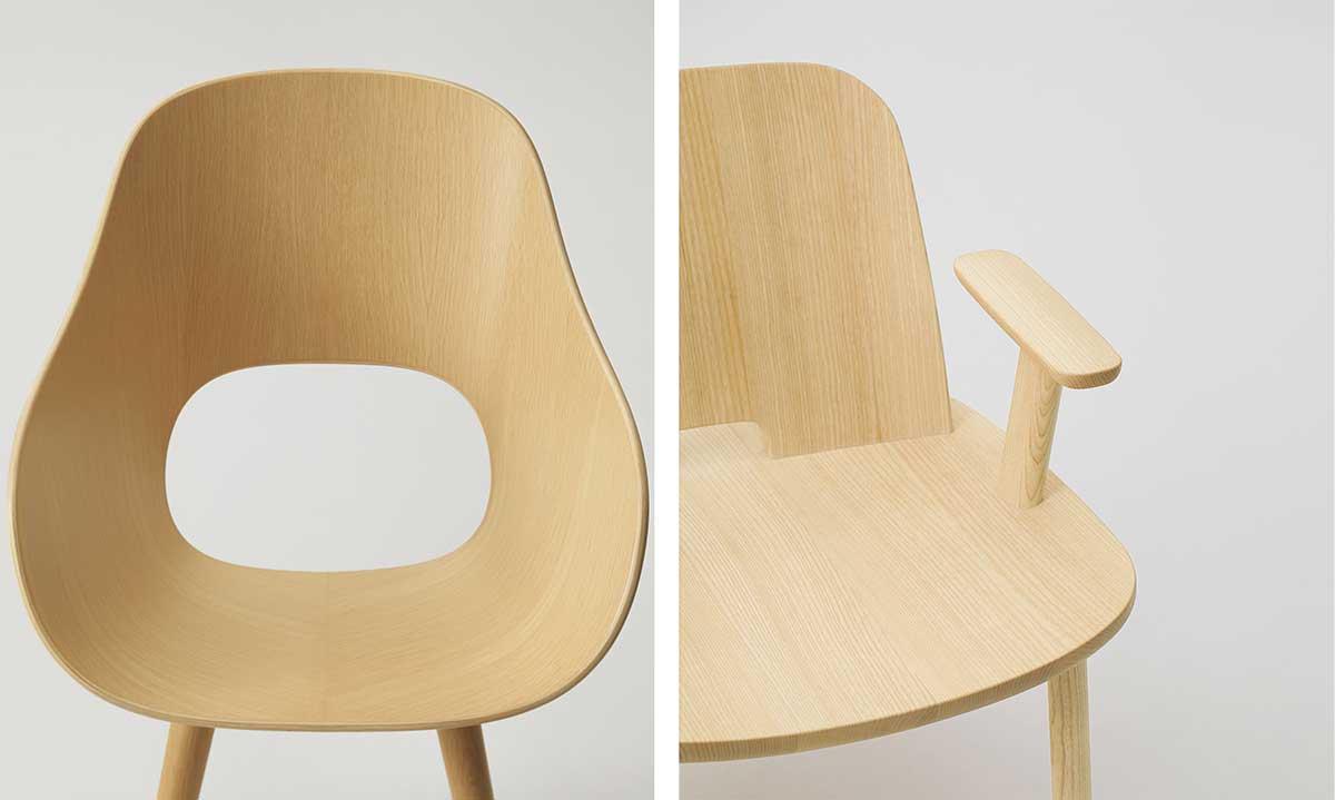 左:「Roundish」アームチェア、デザイン:深澤直人 右:「Fugu」、デザイン:ジャスパー・モリソン 写真:川部 ⽶応、株式会社マルニ⽊⼯提供