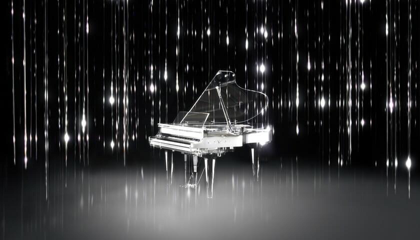 河合楽器製作所が、クリエーションパートナーに松尾高弘を迎えミラノデザインウィークに初出展。 クリスタルピアノによる光と音のインスタレーションを展示