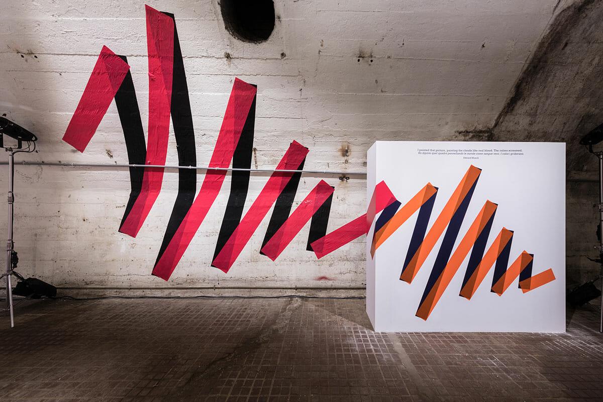 ムンクの言葉である、『赤が血のように、色が叫んだ』を表現したもの designer : SPREAD photographer : Ooki Jingu