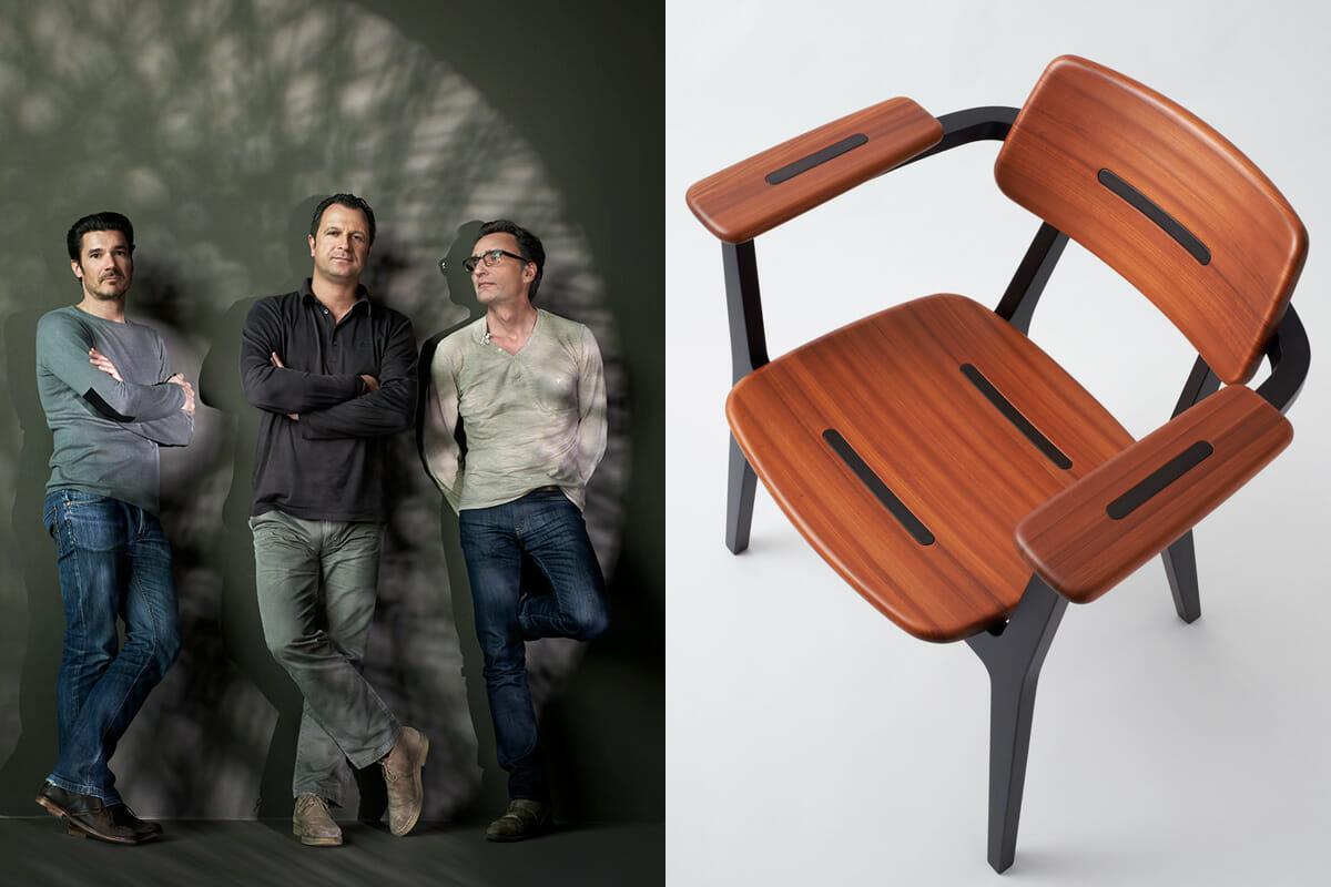 ミラノサローネでは、アトリエオイによるプロトタイプ『gifoï ラウンジチェア』も展示。杉圧縮柾目材の魅力を世界に提案 ©Joël von Allmen