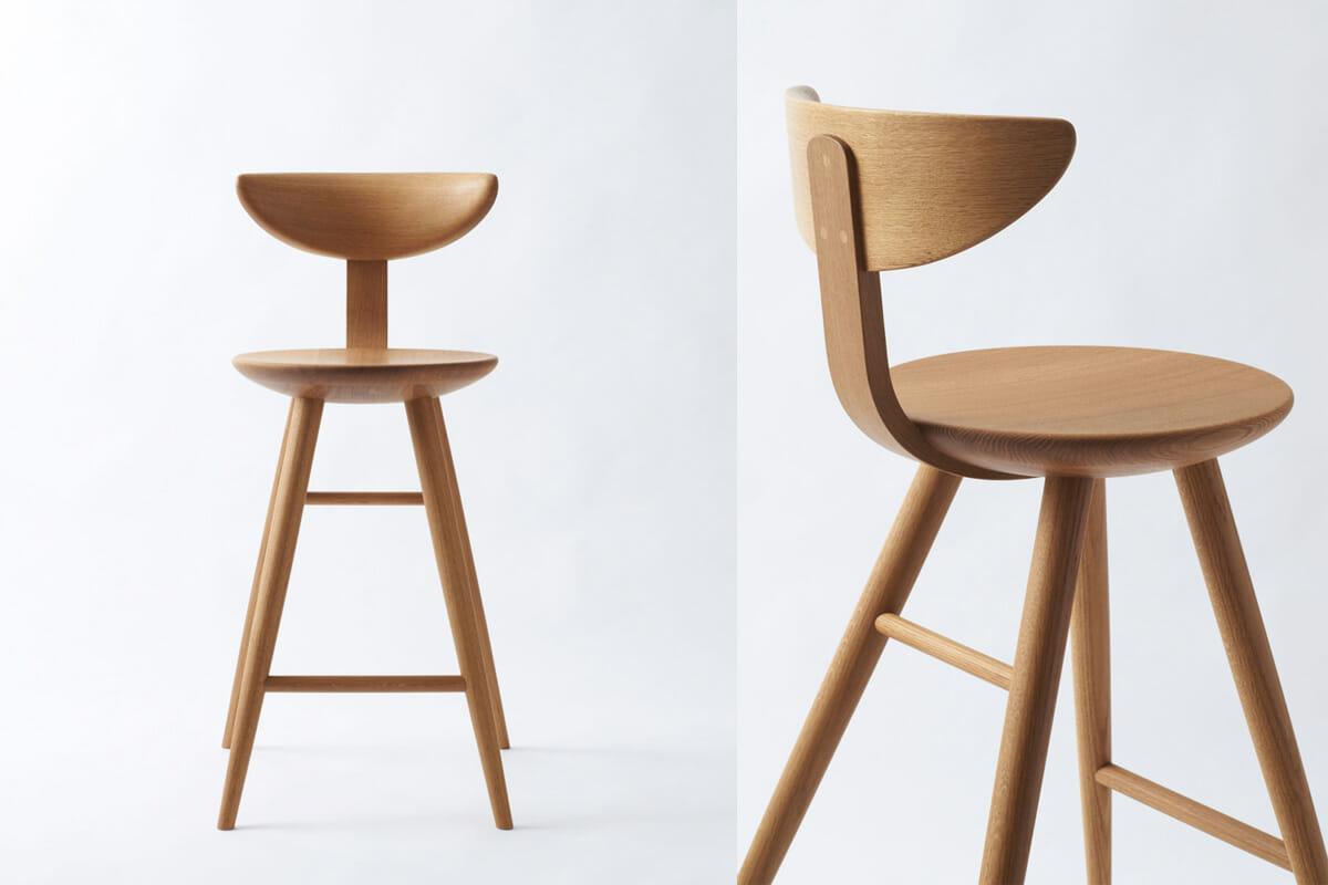 柳工業デザイン研究会の監修のもと、飛驒産業で製作している柳チェアの肘なしタイプのデザインを踏襲した『YANAGIカウンターチェア』。シートを5mm厚くし脚部の強度を増している