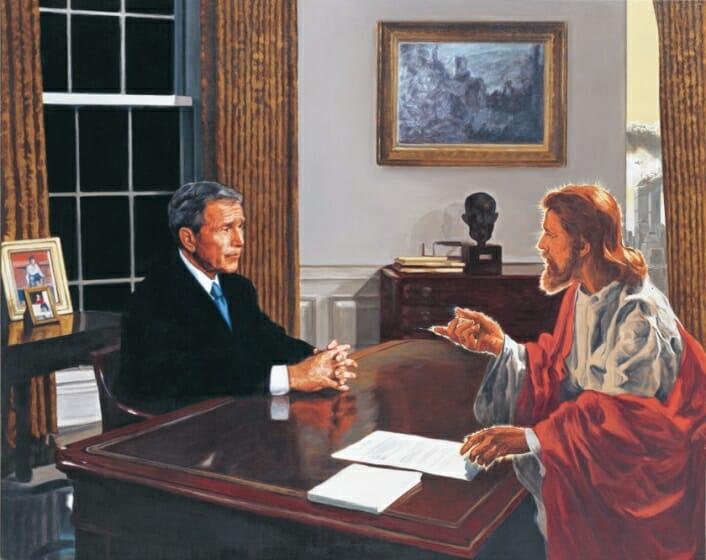 福田美蘭 《ブッシュ大統領に話しかけるキリスト》 2002年 新潟県立近代美術館・万代島美術館蔵